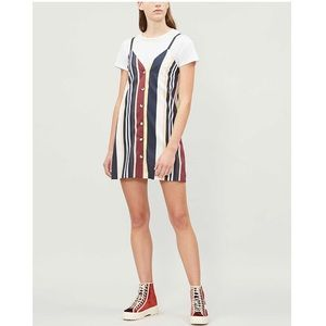 Topshop Sleeveless Stripe Button Front Mini Dress